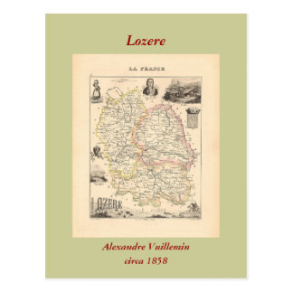 Cartão Postal 1858 mapa do departamento de Lozere, France