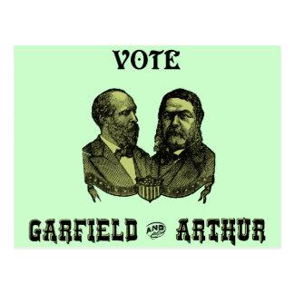Cartão Postal 1880 voto Garfield e Arthur, verdes