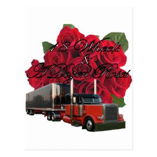 Cartão Postal 18 rodas e dúzia rosas