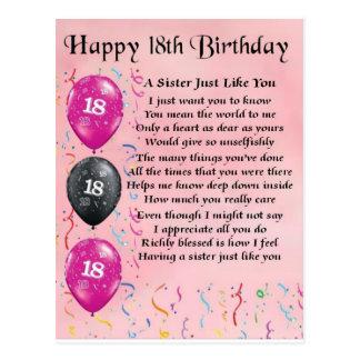 Cartão Postal 18o aniversário feliz - poema da irmã