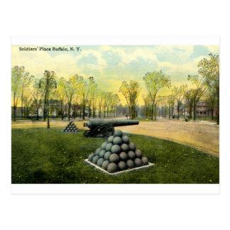 Cartão Postal 1911 o lugar dos soldados do vintage, búfalo, NY
