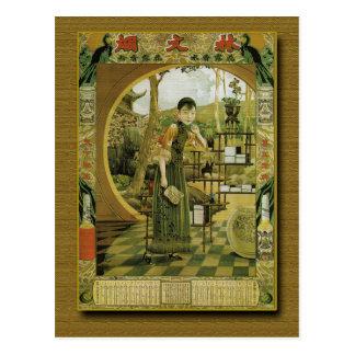 Cartão Postal 1920 do poster do calendário do perfume do fã de