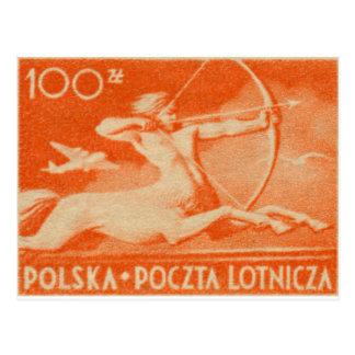 Cartão Postal 1948 selo polonês do correio aéreo de 100 zt