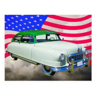 Cartão Postal 1950 embaixador de Nash Carro e bandeira americana