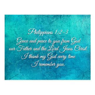 Cartão Postal 1:2 dos Philippians - 3 enfeitam-lhe e paz