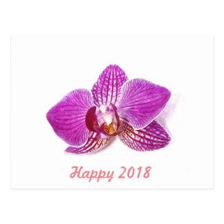 Cartão Postal 2018 feliz, aguarela floral do phalaenopsis do