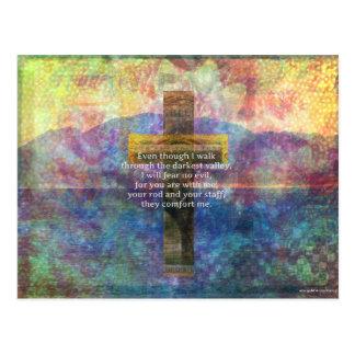 Cartão Postal 23:4 do salmo - mesmo que eu ando através…