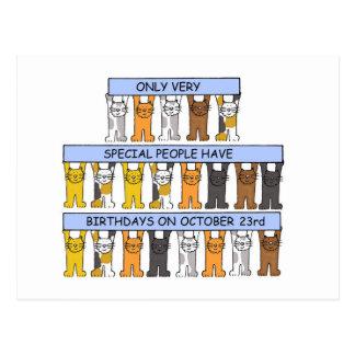 Cartão Postal 23 de outubro aniversários comemorados por gatos