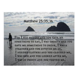 Cartão Postal 25:35,36 de Matthew para eu estava com fome e você