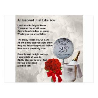 Cartão Postal 25o poema do marido do casamento