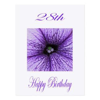 Cartão Postal 28a flor feliz do roxo do aniversário