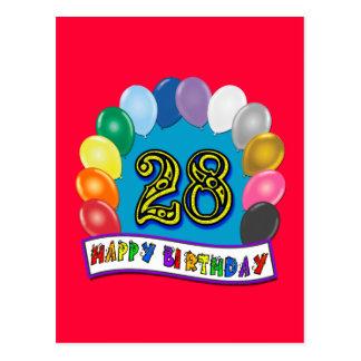 Cartão Postal 28o Presentes de aniversário com design Assorted
