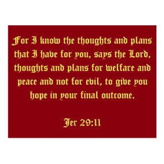 Cartão Postal 29:11 de Jer