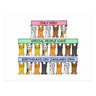 Cartão Postal 29 de janeiro gatos do aniversário