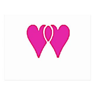 Cartão Postal 2 corações amam junto o modelo do RB