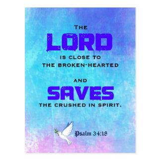 Cartão Postal 34:18 bíblico inspirado do salmo das citações