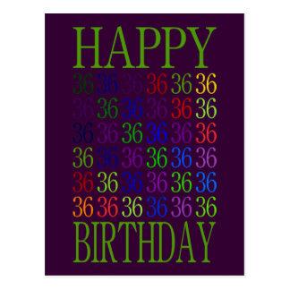 Cartão Postal 36th aniversário feliz
