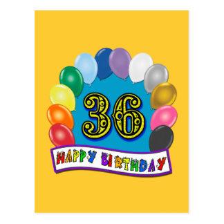 Cartão Postal 36th Design dos balões do aniversário