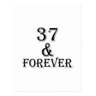 Cartão Postal 37 e para sempre design do aniversário