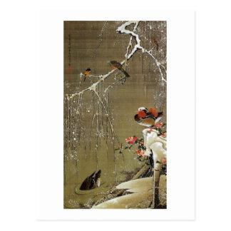 Cartão Postal 3. 雪中鴛鴦図, pato de mandarino na neve, Jakuchū do 若冲