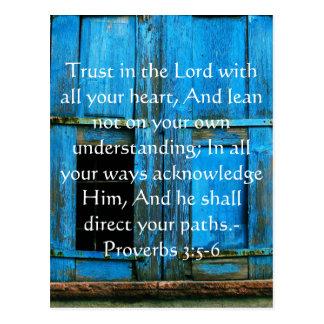 Cartão Postal 3:5 inspirado dos provérbio das citações da bíblia
