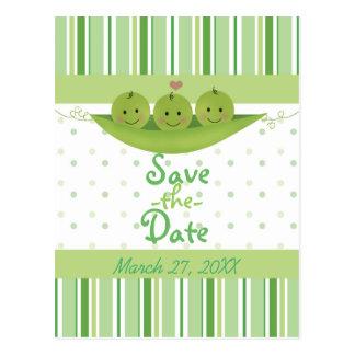 Cartão Postal 3 ervilhas em objectivas triplas de um chá de