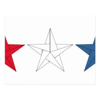 Cartão Postal 3 estrelas de Origami - vermelhas, brancas, e azul