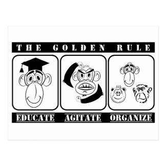 Cartão Postal 3 macacos educam agitam organizam