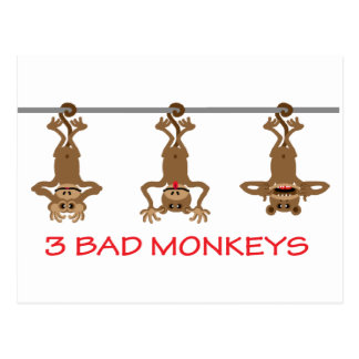 Cartão Postal 3 macacos maus