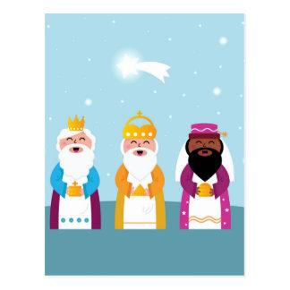 Cartão Postal 3 reis pintados mão