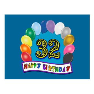 Cartão Postal 3ò O aniversário Balloons presentes