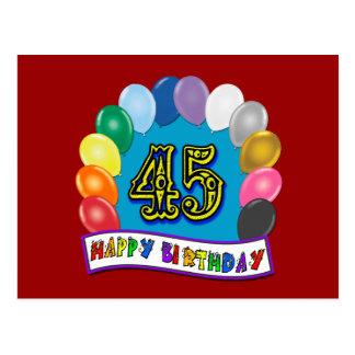 Cartão Postal 45th arco feliz do balão do aniversário