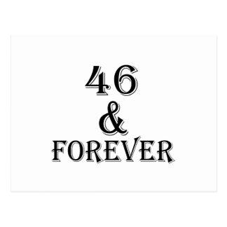 Cartão Postal 46 e para sempre design do aniversário