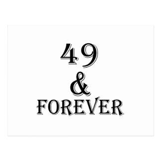 Cartão Postal 49 e para sempre design do aniversário