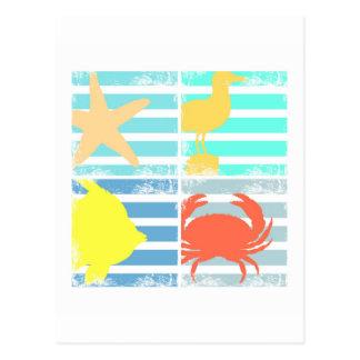 Cartão Postal 4 quadrados do design do oceano