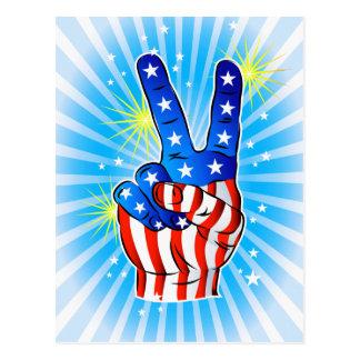 Cartão Postal 4o julho - Americano-Vitória & paz patrióticas