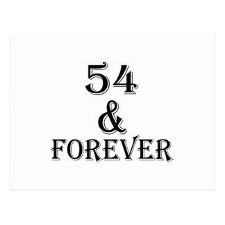 Cartão Postal 54 e para sempre design do aniversário