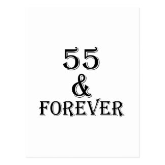 Cartão Postal 55 e para sempre design do aniversário