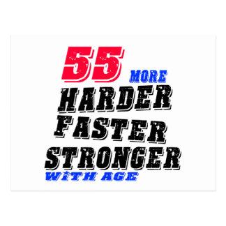 Cartão Postal 55 mais fortes mais rápidos mais duros com idade