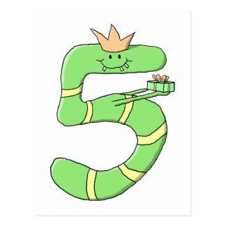Cartão Postal 5o Desenhos animados do aniversário, verdes