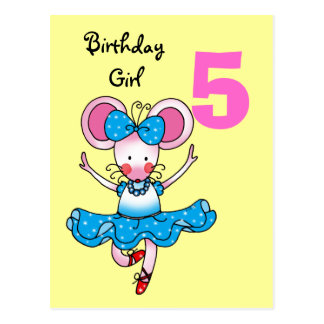 Cartão Postal 5o presente de aniversário para uma menina,