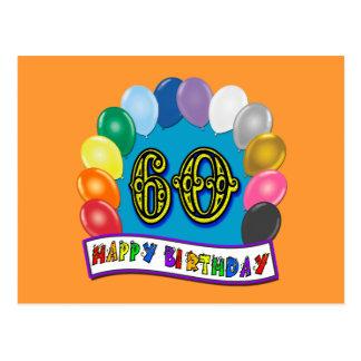Cartão Postal 60th Mercadoria dos balões do feliz aniversario