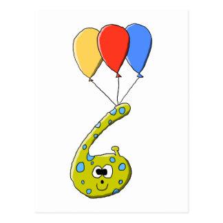 Cartão Postal 6o Monstro dos desenhos animados do aniversário