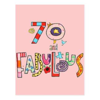 Cartão Postal 70 e aniversário feliz fabuloso do 70