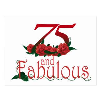 Cartão Postal 75 e 75th número fabuloso do aniversário