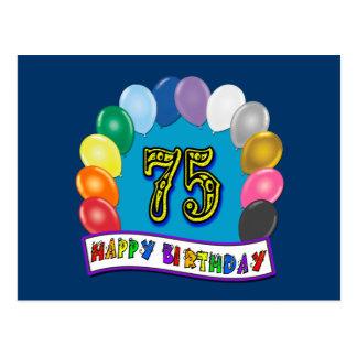 Cartão Postal 75th Presentes de aniversário com design Assorted