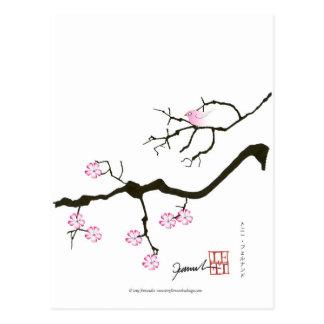 Cartão Postal 7 flores com pássaro cor-de-rosa, fernandes tony