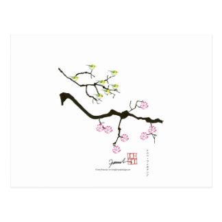 Cartão Postal 7 flores de sakura com 7 pássaros, fernandes tony