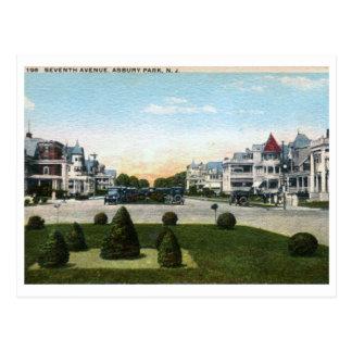 Cartão Postal 7o Avenida., vintage do parque NJ de Asbury