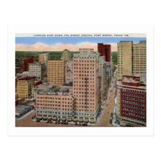 Cartão Postal 7o Garganta da rua, vintage de Fort Worth, Texas
